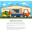 forklift unloads boxes from a truck vector image vector image