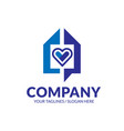 geometric house and heart logo vector image vector image