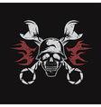 grunge bikers theme emblem with skullflames and vector image