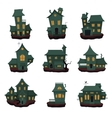 halloween haunted houses collection vector image