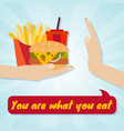 hand giving junk eating food choice concept you vector image vector image