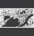 hangzhou china city map in black and white color vector image vector image