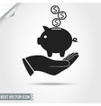 Higgy Bank with coins on the human Hand vector image