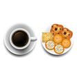 Hot coffee and cookies on plate vector image vector image
