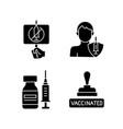 immunization against virus black glyph icons set vector image vector image