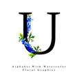 letter u watercolor floral background vector image vector image