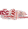 list of tax scams released by irs text background vector image vector image