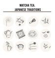 matcha tea japanese traditions menu doodle icons vector image