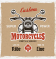 motorcycle front view vintage poster sample text vector image vector image