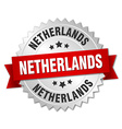 Netherlands round silver badge with red ribbon vector image vector image