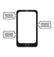 new chat messages notification on phone flat desig vector image