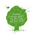 Of Isolated Artichoke Silhouette vector image vector image
