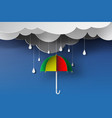 paper art of colorful umbrella with rainy vector image vector image