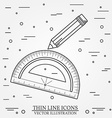 Protractor and pencil icon vector image vector image