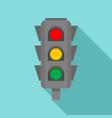 road cross traffic lights icon flat style vector image