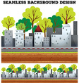 Seamless background design with buildings on the vector image vector image