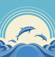Seascape with dolphins in water vector image