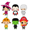 set children dressed for halloween or carnival vector image