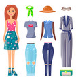 set mode summer clothing multicolored poster vector image vector image