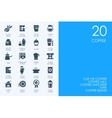 Set of BLUE HAMSTER Library coffee icons vector image