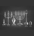 set of candlesticks vector image