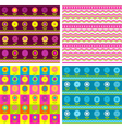 Set of four seamless floral backgrounds vector image