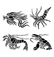 shrimp seafood water animal food black vector image vector image