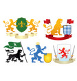 simple heraldic tiger set vector image vector image
