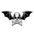 skull with bat wings and two crossed bones vector image