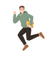 smiling guy in hoodie with book jumps fist up vector image vector image