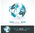 Sphere 3d design symbol Globe blue anr white vector image
