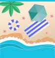 summer beach umbrella blue beach mat swimming tire vector image