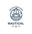 summer travel design - sail boat nautical logo vector image vector image