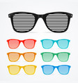 sunglasses striped colorful set retro concept vector image