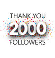 thank you 2000 followers poster with colorful vector image