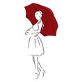 umbrella girl vector image vector image