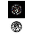 vintage biker skull emblem on black and white vector image