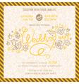 wedding invitation with hand drawn flowers vector image vector image