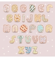 White chocolate donuts font Artistic alphabet vector image vector image