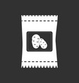white icon on black background potato seeds vector image vector image