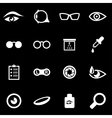 white optometry icon set vector image vector image