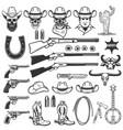 wild west design elements cowboy weapon hat boots vector image vector image