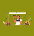 woman holding germany flag oktoberfest party vector image