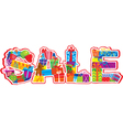 Word SALE letters are made of different gift boxes vector image vector image