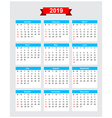 2019 calendar week start sunday vector image vector image