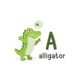 alphabet letter a and alligator vector image vector image