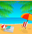 beach view with an umbrella palm leaves vector image