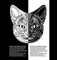 black and white cat head in inverse leaflet design vector image vector image