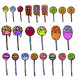bright beautiful set of sweet candies and caramel vector image vector image