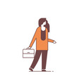 businesswoman hold briefcase business woman office vector image vector image